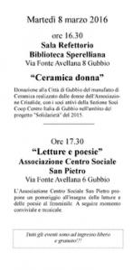 Ore 16.30 Ex Refettorio della Biblioteca Sperelliana Ore 17.30 Centro Sociale S.Pietro